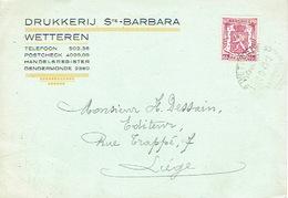 PK Publicitaire WETTEREN 1947 - DRUKKERIJ Ste BARBARA - Wetteren