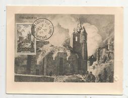 Carte Maximum, ORADOUR SUR GLANE 10 Juin 1944 , Haute Vienne , 1945 ,  2 Scans - Cartes-Maximum