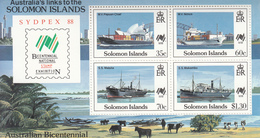 1988 Solomon Islands Australian Bicentennial Souvenir Sheet Of 4 Boats, Freighters MNH - Salomoninseln (Salomonen 1978-...)
