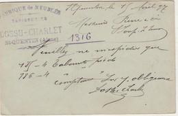Carte Commerciale 1897 / Entier / DOSSU CHARLET / Fabrique De Meubles / 02 St Quentin / Aisne - Maps