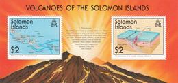 1994 Solomon Islands Volcanoes Map And Illustration Of Formation Souvenir Sheet Of 2 MNH - Salomon (Iles 1978-...)