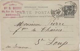 Carte Commerciale 1897 / Entier / Vve D. BONNAC / Chaises Et Fauteuils / 48 Rue Du Loup / 33 Bordeaux - Maps
