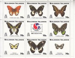 1994 Solomon Islands Philakorea Butterflies Souvenir Sheet Of 9 MNH - Salomoninseln (Salomonen 1978-...)