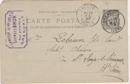 Carte Commerciale 1899 / Entier / Georges BRUN / Fabrique Meubles / 9 Rue Bayard / 38 Grenoble - Maps