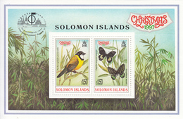 1997 Solomon Islands Christmas Bird & Butterfly Souvenir Sheet Of 2 China Stamp Exhibition  MNH - Salomoninseln (Salomonen 1978-...)