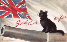 CPA Fantaisie - Illustrateur Fred SPURGIN - Chat - Cat - Bonne Chance - Drapeau Anglais - Canon - Spurgin, Fred