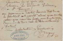 Carte Commerciale 1899 / Entier / J. BUGEY / Fabrique Ebénisterie / 38 Grenoble - Maps