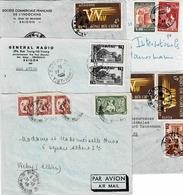 Lot De 4 Devants D'enveloppe De Saïgon Des Années 50 Et Une Enveloppe De Hanoi De 1948 - Viêt-Nam
