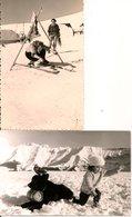 L74A628 - Lot De Deux Photo - Jeune Femme à Ski Et Enfant Avec Chien Avec Tonneau - Winter Sports