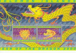 2000 Solomon Islands Year Of The Dragon  Souvenir Sheet Of 2 MNH - Salomoninseln (Salomonen 1978-...)
