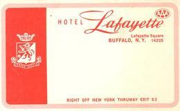 ETIQUETA DE HOTEL  - HOTEL LAFAYETTE  -BUFFALO -NEW YORK - Hotel Labels
