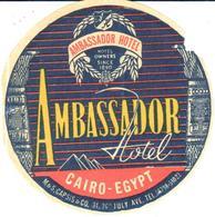 ETIQUETA DE HOTEL  - AMBASSADOR HOTEL  . EL CAIRO  -EGYPT - Hotel Labels