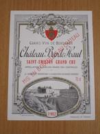 ETIQUETTE DE VIN SAINT-EMILION GRAND CRU CHATEAU BARDE HAUT 1982 - Bordeaux