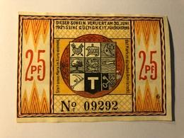 Allemagne Notgeld Steinfeld 25 Pfennig - [ 3] 1918-1933 : République De Weimar