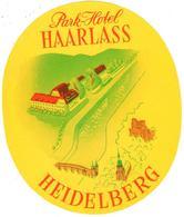 ETIQUETA DE HOTEL  -PARK-HOTEL HAARLASS  -HEIDELBERG  -ALEMANIA - Hotel Labels