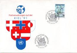 """(Bu-B2)BRD Sonderumschl.""""Postverwaltungen Auf Der Kiel'91""""EF Dänemark(Grönland) Mi 205 SSt 20.-21.4.91 KALAALLIT NUNAAT - Brieven En Documenten"""