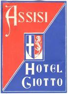 ETIQUETA DE HOTEL  - HOTEL GIOTTO  -ASSISI  -ITALIA - Hotel Labels