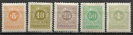 MONTENEGRO    -    Timbres - Taxe   -   1902.    Y&T N° 9 à 13 * .  Série Complète - Montenegro