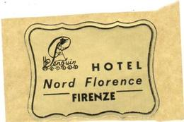ETIQUETA DE HOTEL  - HOTEL NORD FLORENCE  -FIRENZE  -ITALIA - Etiquetas De Hotel