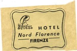 ETIQUETA DE HOTEL  - HOTEL NORD FLORENCE  -FIRENZE  -ITALIA - Hotel Labels