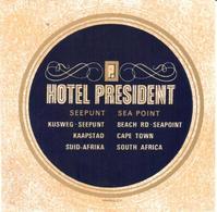 ETIQUETA DE HOTEL  - HOTEL PRESIDENT - Etiquetas De Hotel