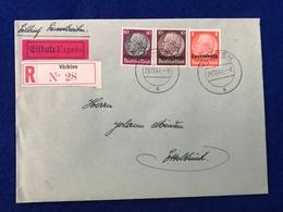 Luxemburg - Deutsches Reich - Eilbrief - Einschreiben - Eilbote Exprès - R Vichten N° 28 - 1940-1944 Occupation Allemande