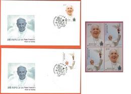 2014 - SUD COREA / SOUTH KOREA - VIAGGIO DEL PAPA / THE TRAVEL OF POPE - 2 FDC + 1 BLOCK OF FOUR STAMPS SET. MNH - Corée Du Sud