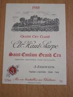 ETIQUETTE DE VIN SAINT-EMILION GRAND CRU CLASSE CHATEAU HAUT SARPE 1988 - Bordeaux