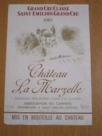ETIQUETTE DE VIN SAINT-EMILION GRAND CRU CLASSE CHATEAU LA MARZELLE 1985 - Bordeaux
