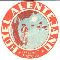 ETIQUETA DE HOTEL  - HOTEL ALENTEJANO  -EXTREMOZ  -PORTUGAL - Hotel Labels