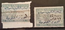 NO11 #4-27 - Lebanon Syria SYRIE-GRAND LIBAN 1925 1/2p Dette Publique Revenue BOTH Varieties WITH & WITHOUT SERIFS - Lebanon