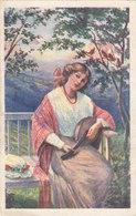 Lady In Garden W Mandoline Music , Birds Postcard 20s - Musique Et Musiciens