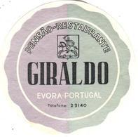 ETIQUETA DE HOTEL  - PENSAO RESTAURANTE GIRALDO  -EVORA  -PORTUGAL - Hotel Labels