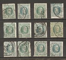 Belgique 1922/7 - Albert Houyoux - Cob 194 - Petit Lot De 12° - Jodoigne - Geldenaken - Montaigu - Scherpenheuvel - Wend - 1922-1927 Houyoux