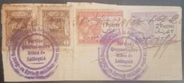 NO11 Syria Alaouites Piece SERVICE QUARENTINE LATTAQUIE Franked Frevenue Stamps Opt ALaouites & Syrie GL Dette Publique - Syria