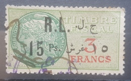 """NO11 #19 - Lebanon 1926 15 Ps On 3f Green Fiscal Revenue Stamp, Without """"Droit Fiscal"""" - Lebanon"""