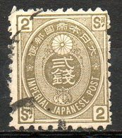 ASIE - (JAPON - EMPIRE) - 1876-77 - N° 49 - 2 S. Olive - Oblitérés