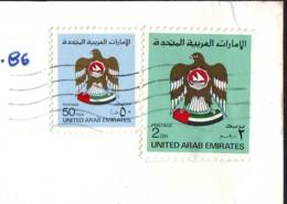 Eagle  2 Stamps  Val. 50 F. + 2 DH  1985/86 On Postcard  UAE (a) - Emirati Arabi Uniti