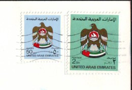 Eagle  2 Stamps  Val. 50 F. + 2 DH  1985/86 On Postcard  UAE (b) - Emirati Arabi Uniti