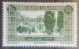 NO11 #4 - Lebanon GRAND LIBAN 1925 1p Overprint On 1p25 Fiscal Revenue Stamp MNH - Lebanon