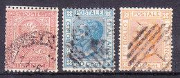 1863 1877  DE LA RUE + RIQUADRATO LOTTO 3 BOLLI USATO - Usati