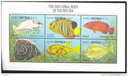 ERITREA    335 MINT NEVER HINGED MINI SHEET OF FISH-MARINE LIFE - Fishes