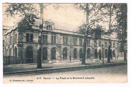 CPA : NAMUR - La Poste ( Ancien Bâtiment De La Même Architecture Que Celle De La Gare) Et Boulevard Léopold ! - Namur