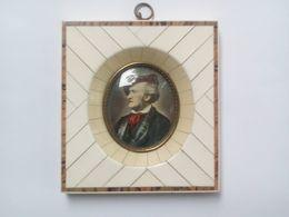 Tres Beau Portrait Miniature Main - Richard Wagner - Carde Incrusté D Ivoire - Sonstige