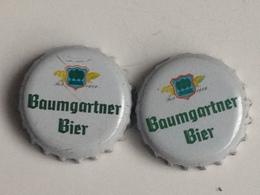 Lote 2 Chapas Kronkorken Caps Tappi Cerveza Baumgartner Bier. Austria. - Beer