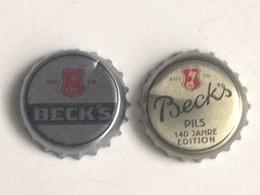 Lote 2 Chapas Kronkorken Caps Tappi Cerveza Beck's. Alemania - Beer