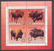 ERITREA   361 MINT NEVER HINGED MINI SHEET OF WILDLIFE & ANIMALS ; BUFFALO ; BISON - Fantasy Labels