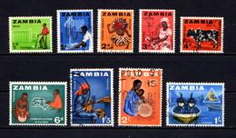 ZAMBIA    1964    Various  Designs     Short  Set  Of  9   ( No 9d )  USED - Zambia (1965-...)
