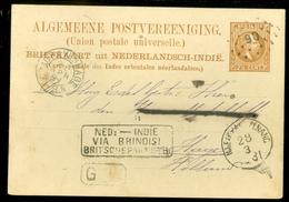 DUTCH INDIES * 1881 * NED INDIE VIA BRINDISI BRITSCHE PAKKETB: * Puntstempel 90 * N.I.EXP.KANTOOR PENANG   (11.454b) - Netherlands Indies