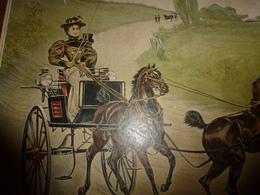 édit. Origine 1895 Rare Plaque Publicitaire Du FIGARO ILLUSTRÉ 52cm X 32cm :Lithographie Carosse Attelé Par 2 Chevaux - Plaques En Carton